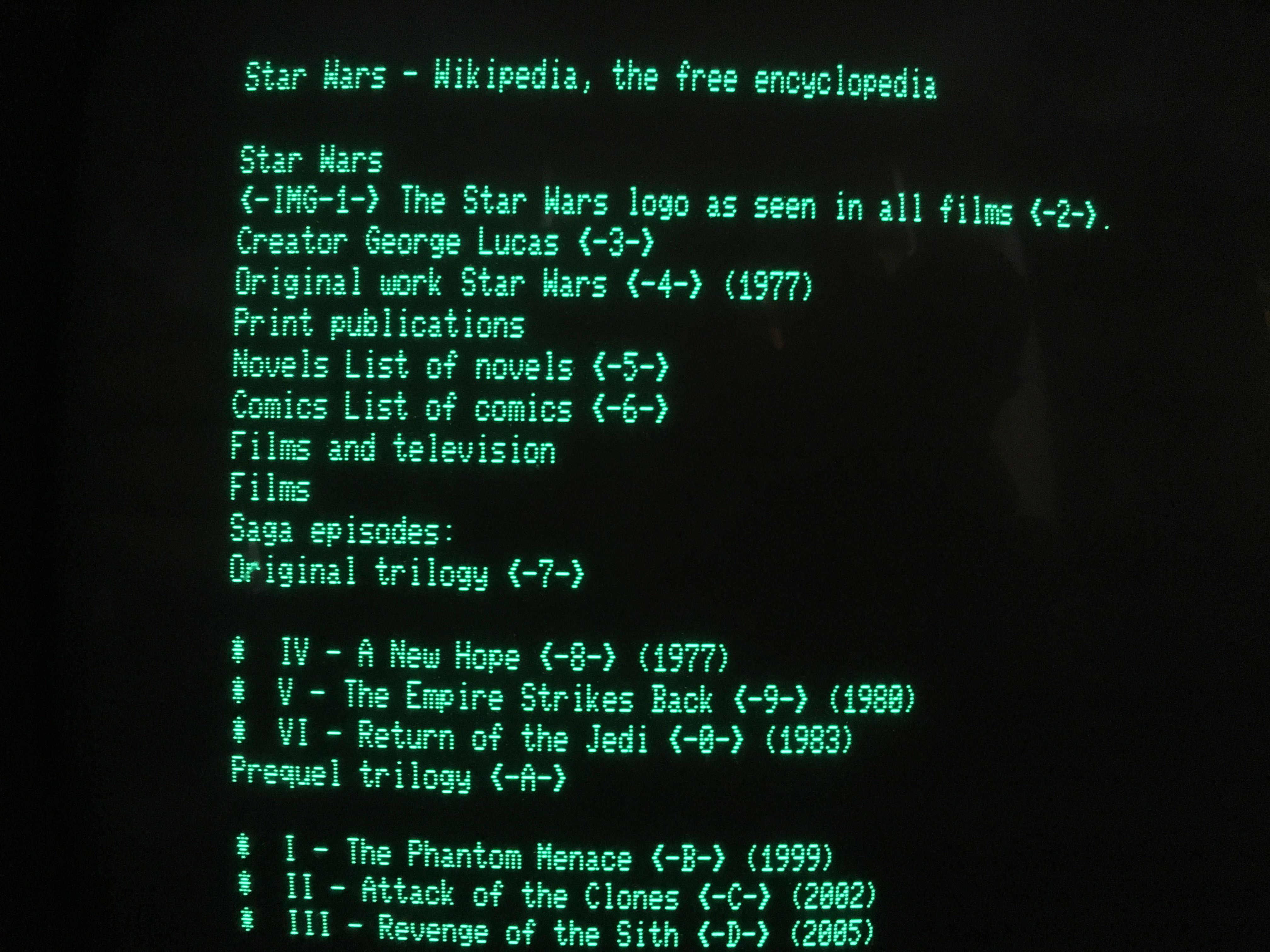 80 column Wikipedia entry for Star Wars as rendered by TRSWiki on a Model 4 with the M3SE running LS-DOS 6