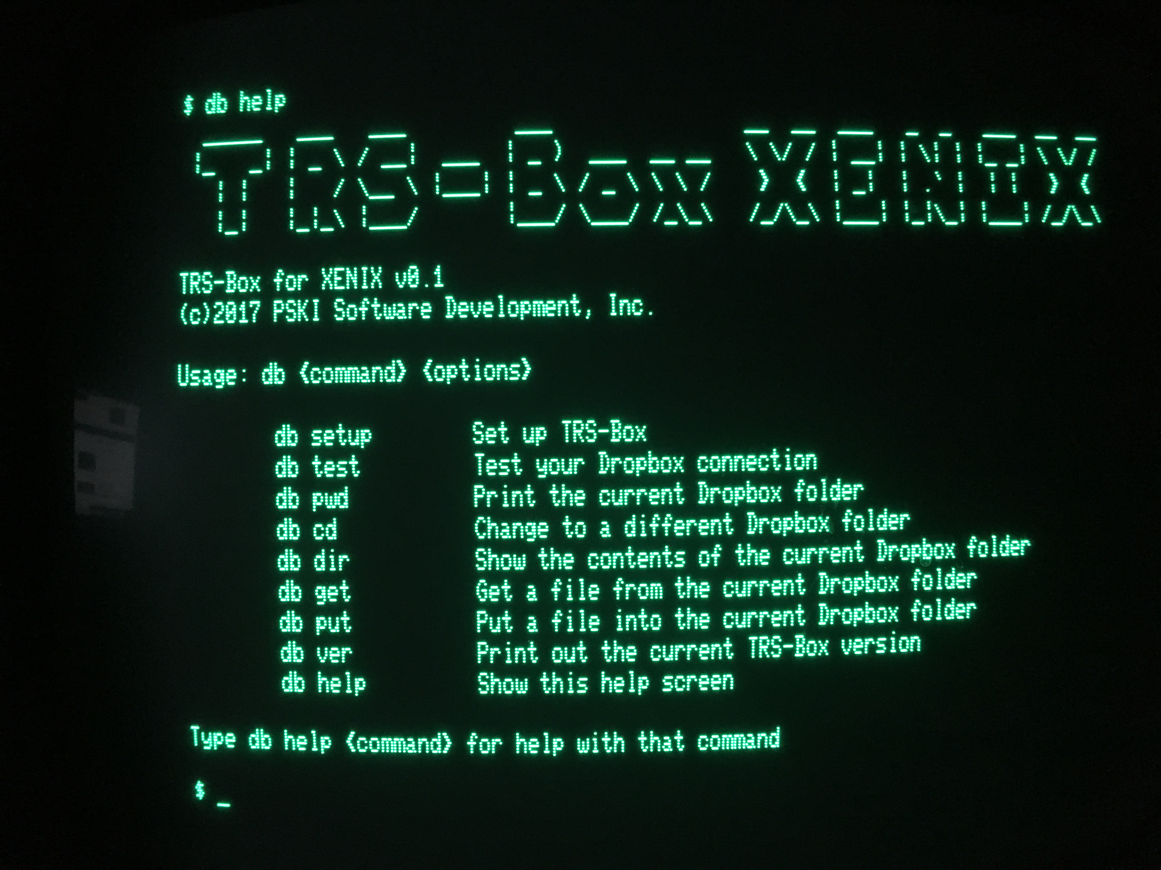 TRS-Box XENIX Help Screen
