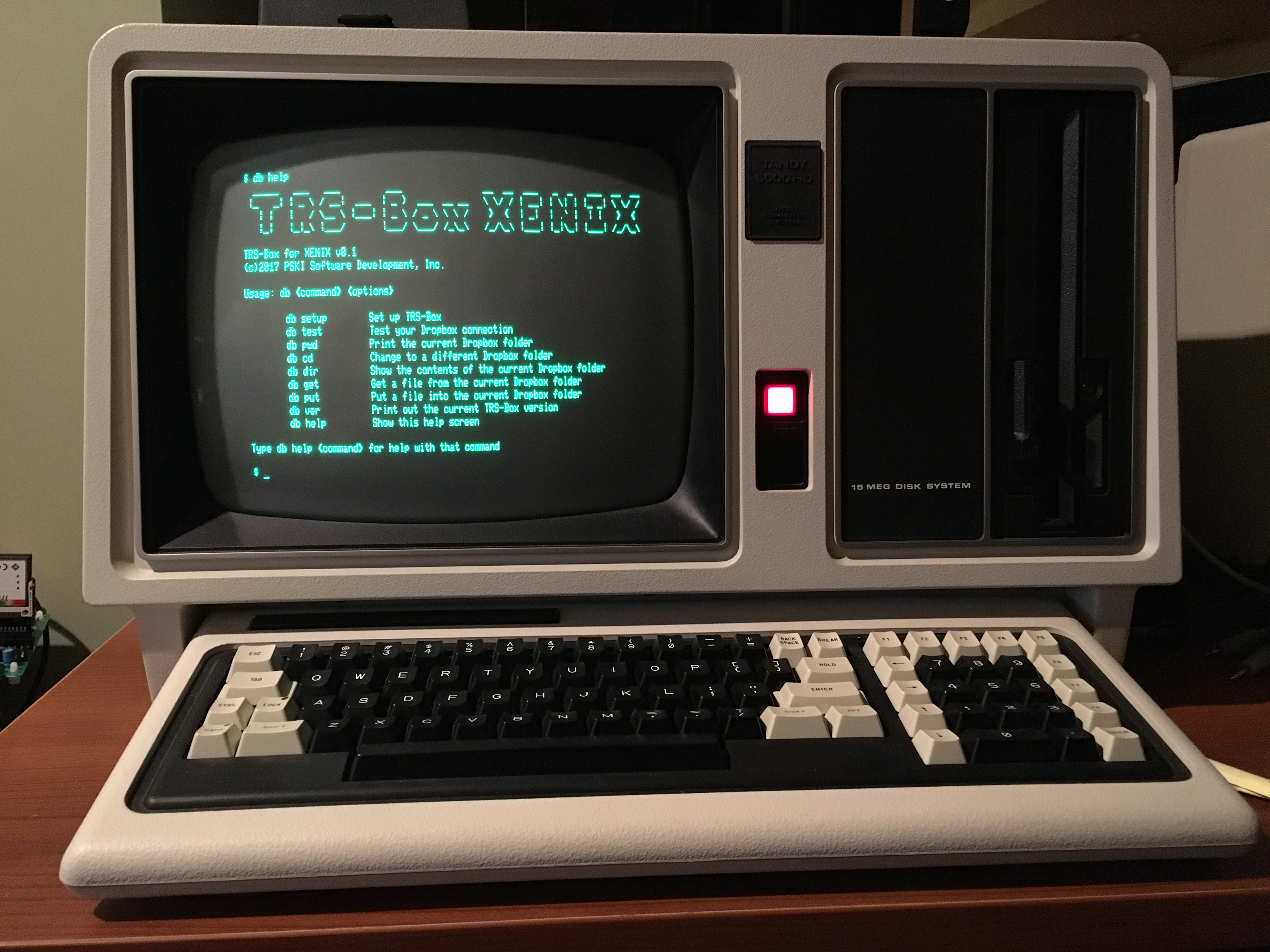 Tandy 6000 running TRS-Box XENIX with the ATC-1000 Serial-IP converter.